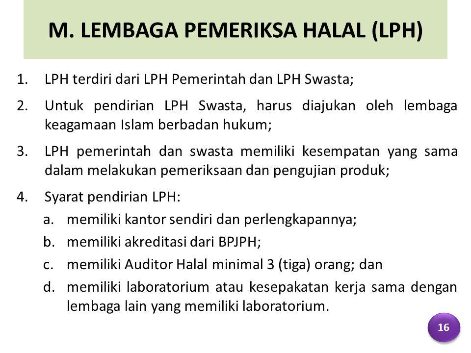 M. LEMBAGA PEMERIKSA HALAL (LPH)