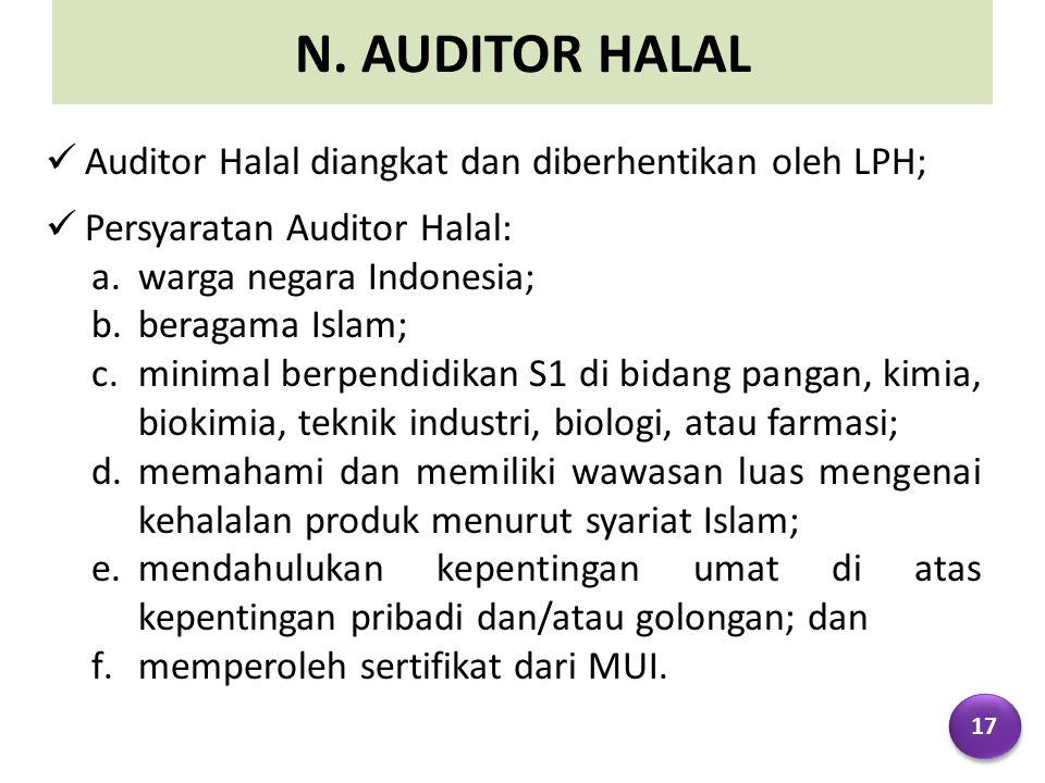 N. AUDITOR HALAL Auditor Halal diangkat dan diberhentikan oleh LPH;