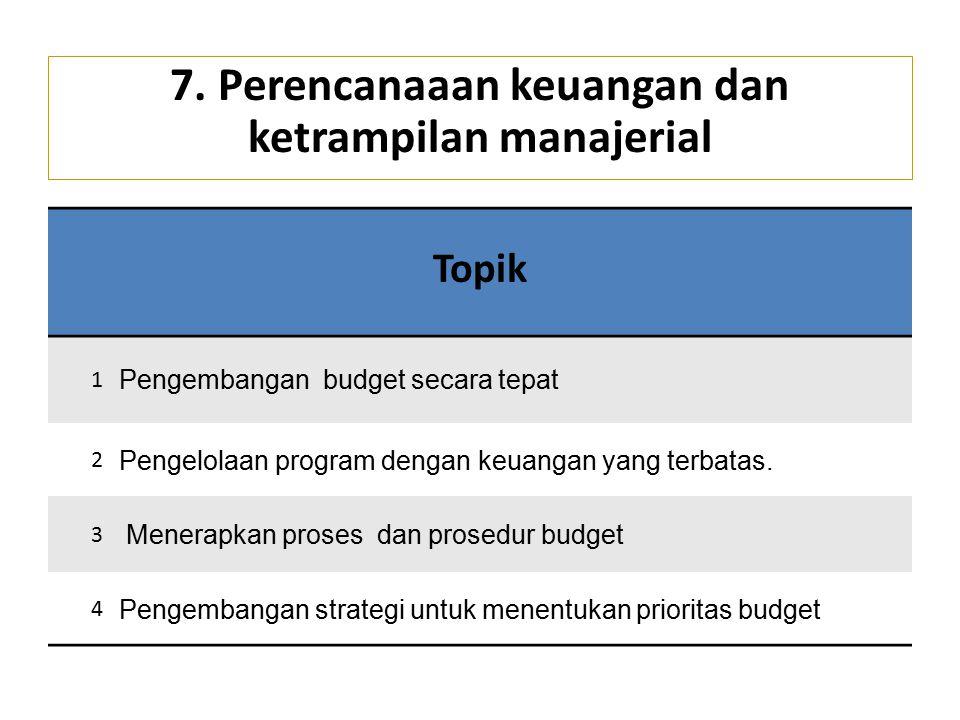 7. Perencanaaan keuangan dan ketrampilan manajerial