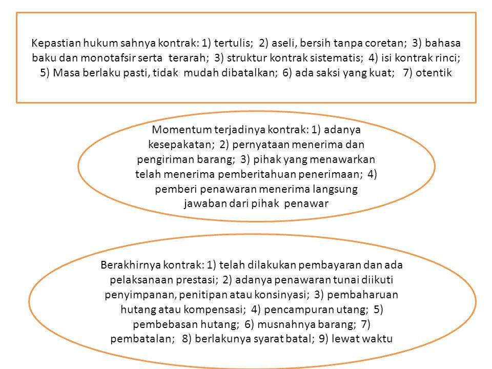 Kepastian hukum sahnya kontrak: 1) tertulis; 2) aseli, bersih tanpa coretan; 3) bahasa baku dan monotafsir serta terarah; 3) struktur kontrak sistematis; 4) isi kontrak rinci;