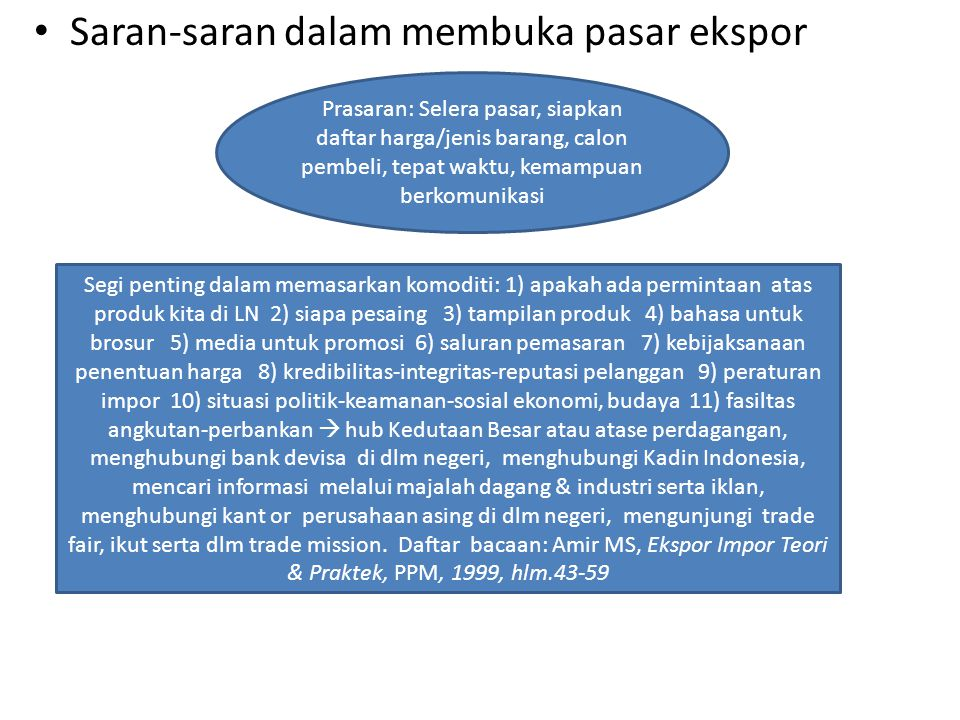 Saran-saran dalam membuka pasar ekspor