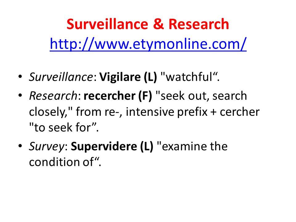 Surveillance & Research http://www.etymonline.com/
