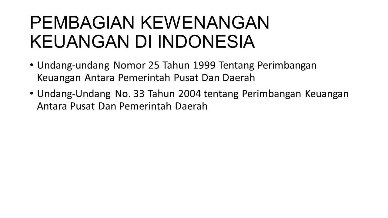 PEMBAGIAN KEWENANGAN KEUANGAN DI INDONESIA