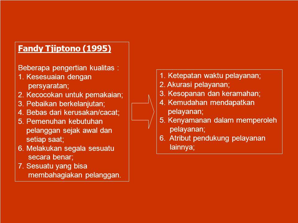 Fandy Tjiptono (1995) Beberapa pengertian kualitas :