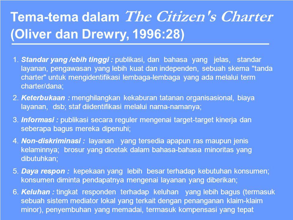 Tema-tema dalam The Citizen s Charter (Oliver dan Drewry, 1996:28)