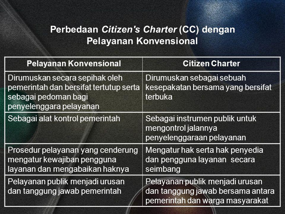 Perbedaan Citizen s Charter (CC) dengan Pelayanan Konvensional