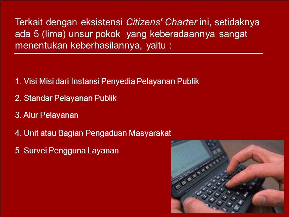 Terkait dengan eksistensi Citizens Charter ini, setidaknya ada 5 (lima) unsur pokok yang keberadaannya sangat menentukan keberhasilannya, yaitu :