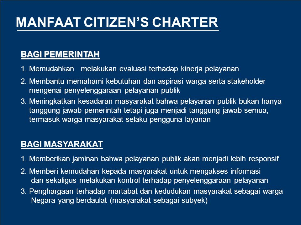 MANFAAT CITIZEN'S CHARTER
