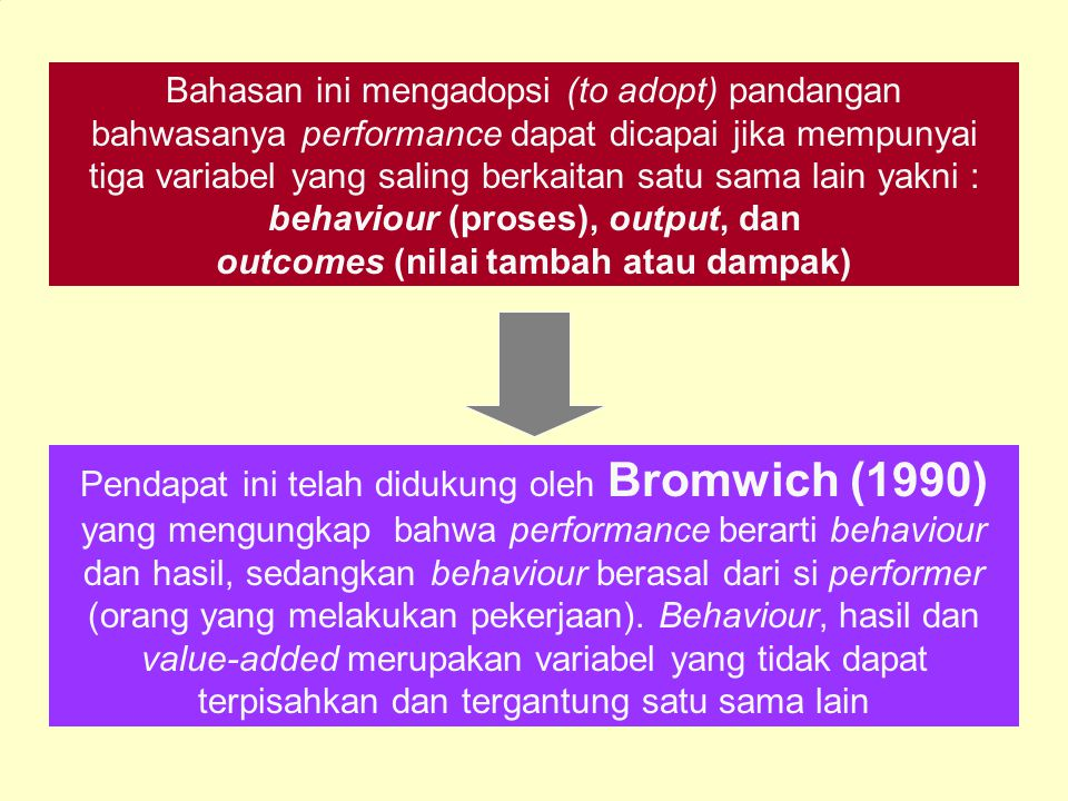 outcomes (nilai tambah atau dampak)