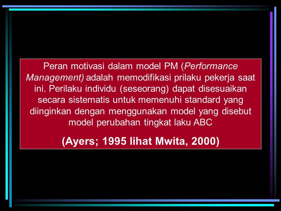 Peran motivasi dalam model PM (Performance Management) adalah memodifikasi prilaku pekerja saat ini. Perilaku individu (seseorang) dapat disesuaikan secara sistematis untuk memenuhi standard yang diinginkan dengan menggunakan model yang disebut model perubahan tingkat laku ABC