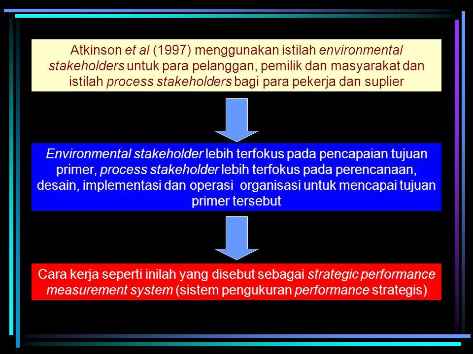 Atkinson et al (1997) menggunakan istilah environmental stakeholders untuk para pelanggan, pemilik dan masyarakat dan istilah process stakeholders bagi para pekerja dan suplier