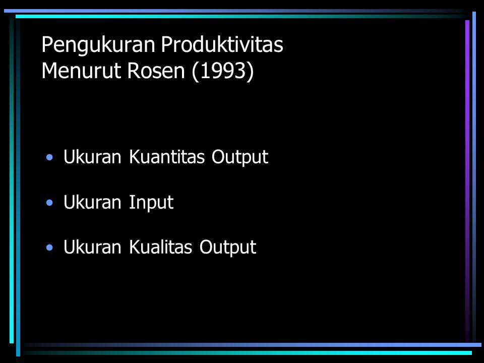 Pengukuran Produktivitas Menurut Rosen (1993)