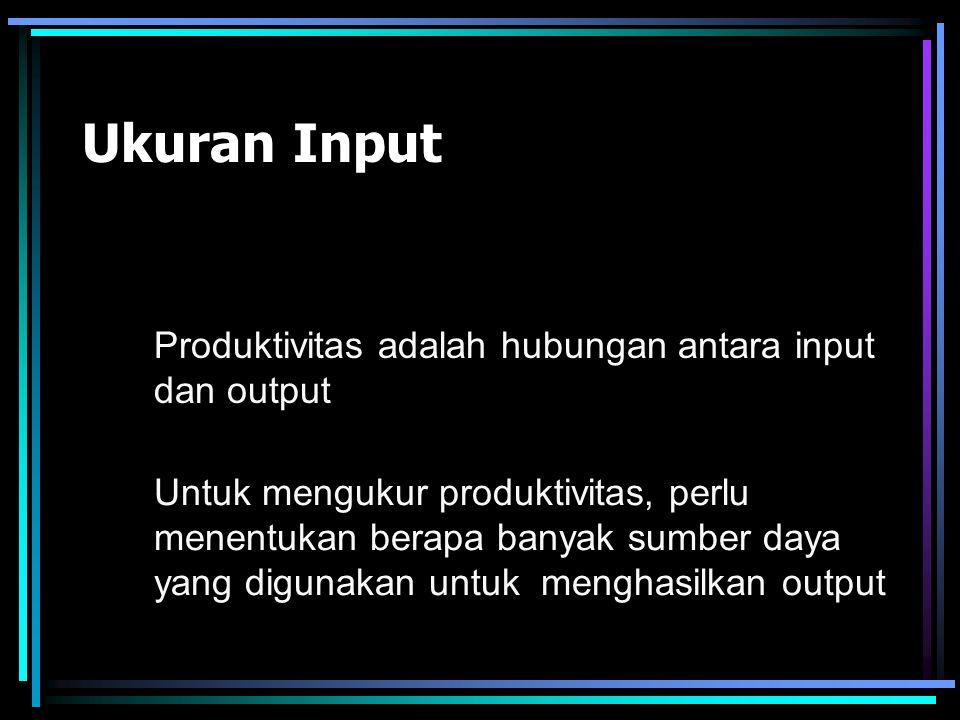 Ukuran Input Produktivitas adalah hubungan antara input dan output