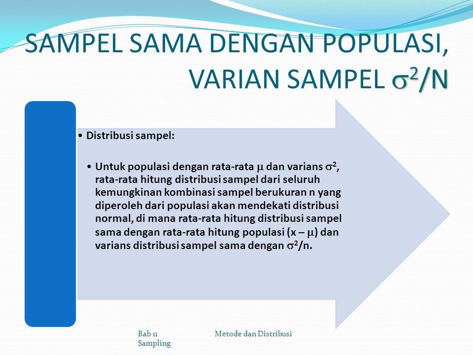 SAMPEL SAMA DENGAN POPULASI, VARIAN SAMPEL 2/N