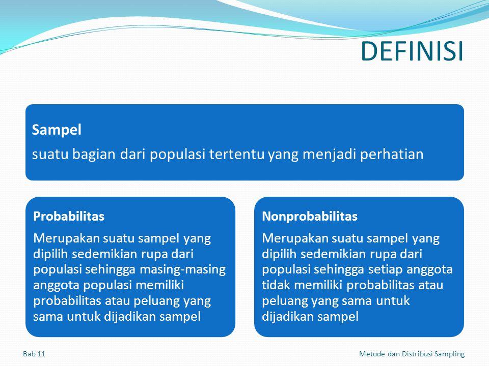 DEFINISI Sampel. suatu bagian dari populasi tertentu yang menjadi perhatian.