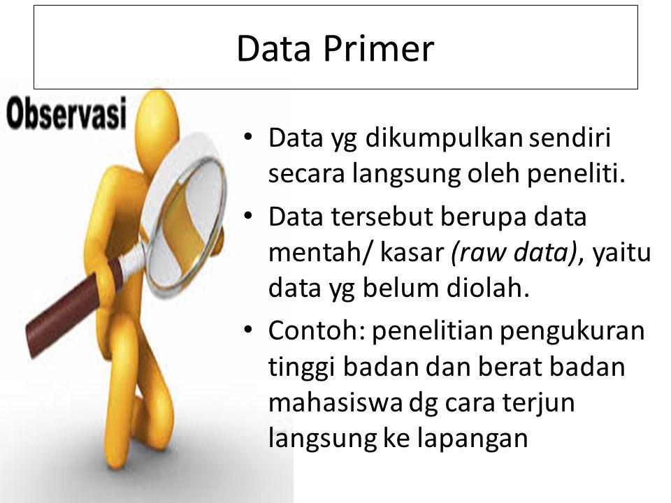 Data Primer Data yg dikumpulkan sendiri secara langsung oleh peneliti.