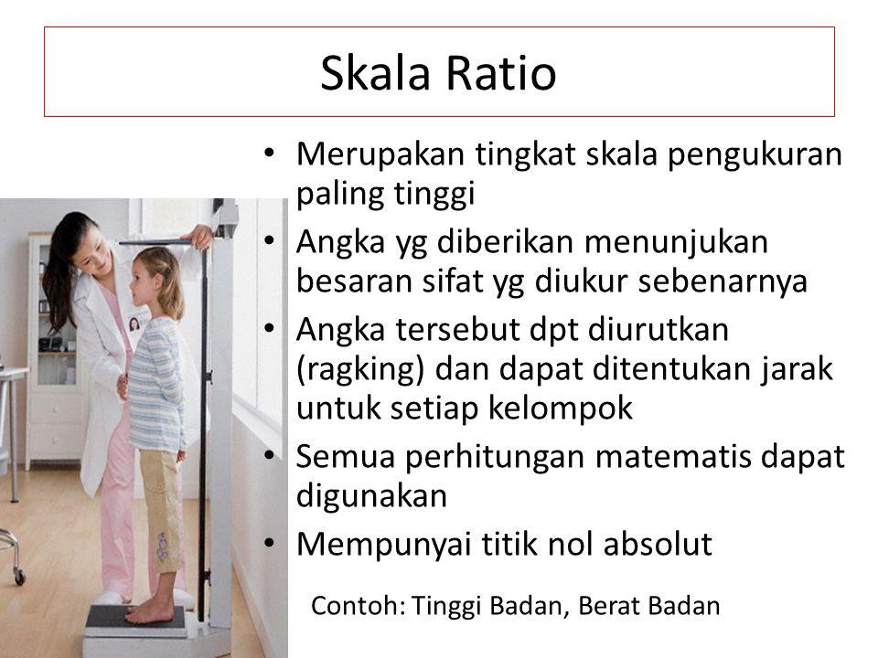 Skala Ratio Merupakan tingkat skala pengukuran paling tinggi