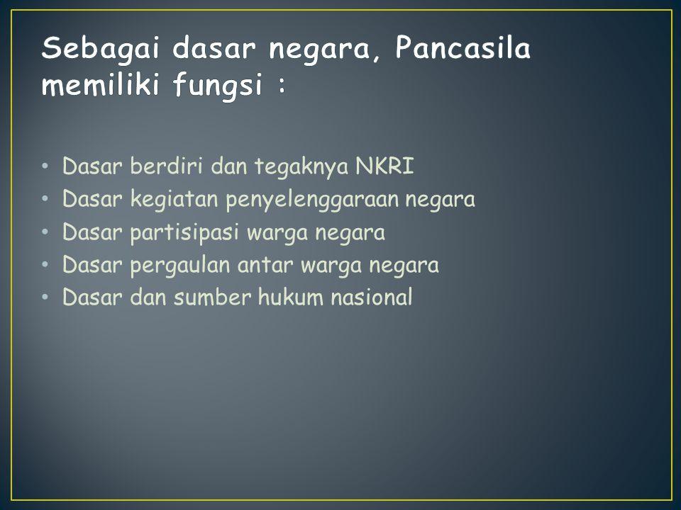 Sebagai dasar negara, Pancasila memiliki fungsi :