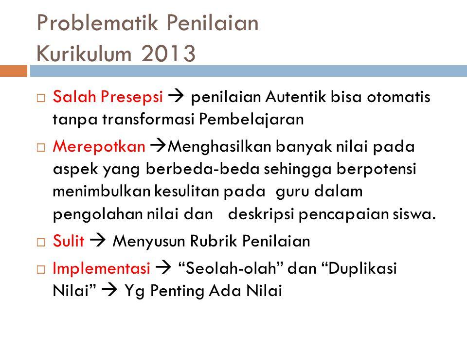 Problematik Penilaian Kurikulum 2013