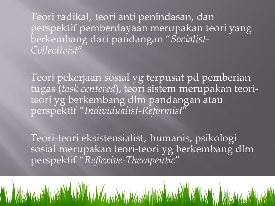 Teori radikal, teori anti penindasan, dan perspektif pemberdayaan merupakan teori yang berkembang dari pandangan Socialist-Collectivist Teori pekerjaan sosial yg terpusat pd pemberian tugas (task centered), teori sistem merupakan teori-teori yg berkembang dlm pandangan atau perspektif Individualist-Reformist Teori-teori eksistensialist, humanis, psikologi sosial merupakan teori-teori yg berkembang dlm perspektif Reflexive-Therapeutic