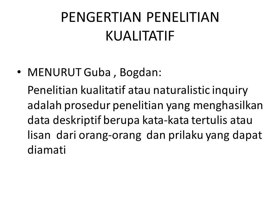 PENGERTIAN PENELITIAN KUALITATIF