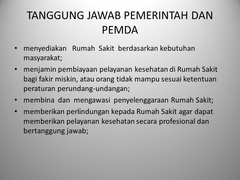 TANGGUNG JAWAB PEMERINTAH DAN PEMDA