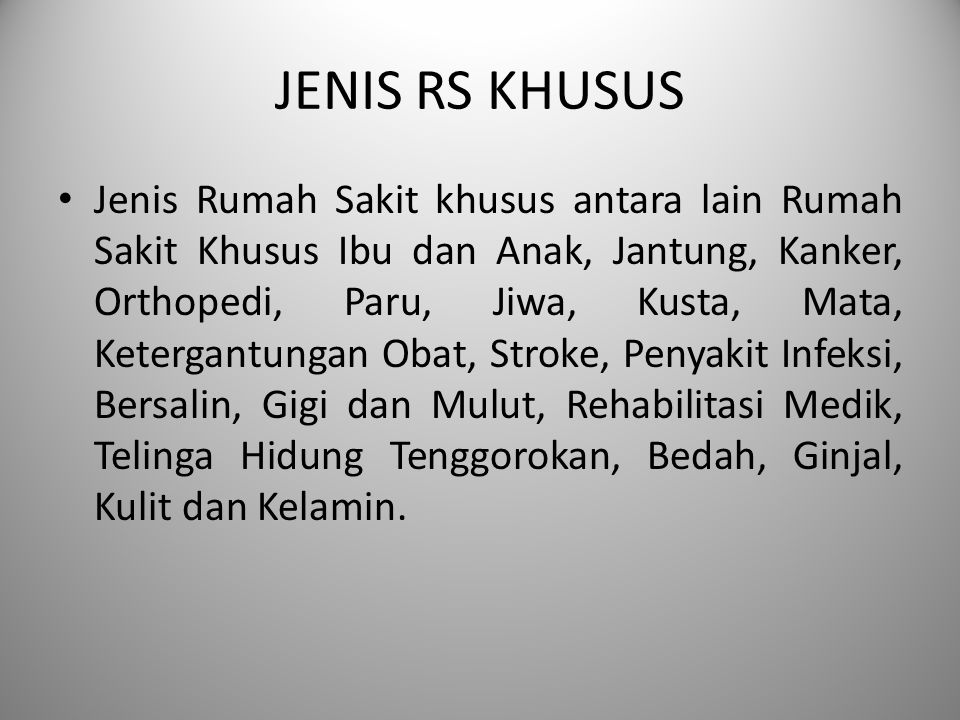 JENIS RS KHUSUS