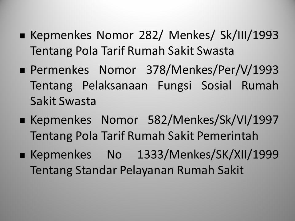 Kepmenkes Nomor 282/ Menkes/ Sk/III/1993 Tentang Pola Tarif Rumah Sakit Swasta