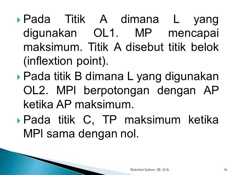 Pada titik C, TP maksimum ketika MPl sama dengan nol.