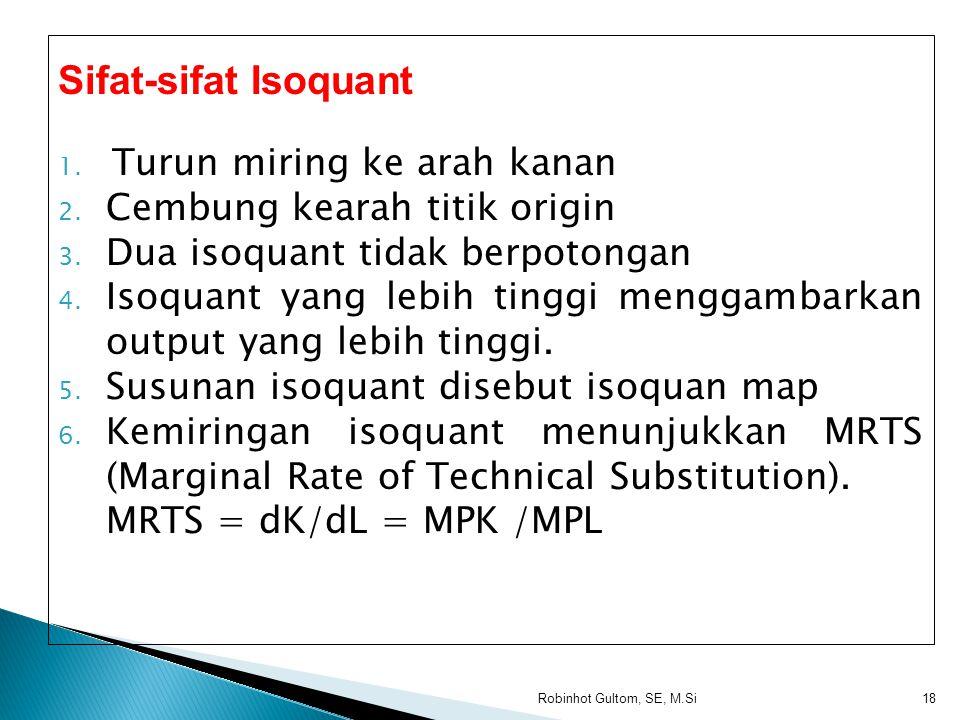 Sifat-sifat Isoquant Turun miring ke arah kanan
