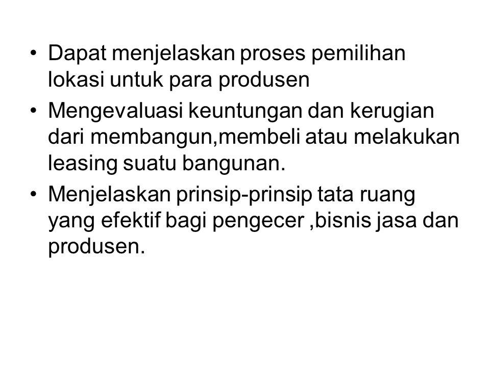 Dapat menjelaskan proses pemilihan lokasi untuk para produsen