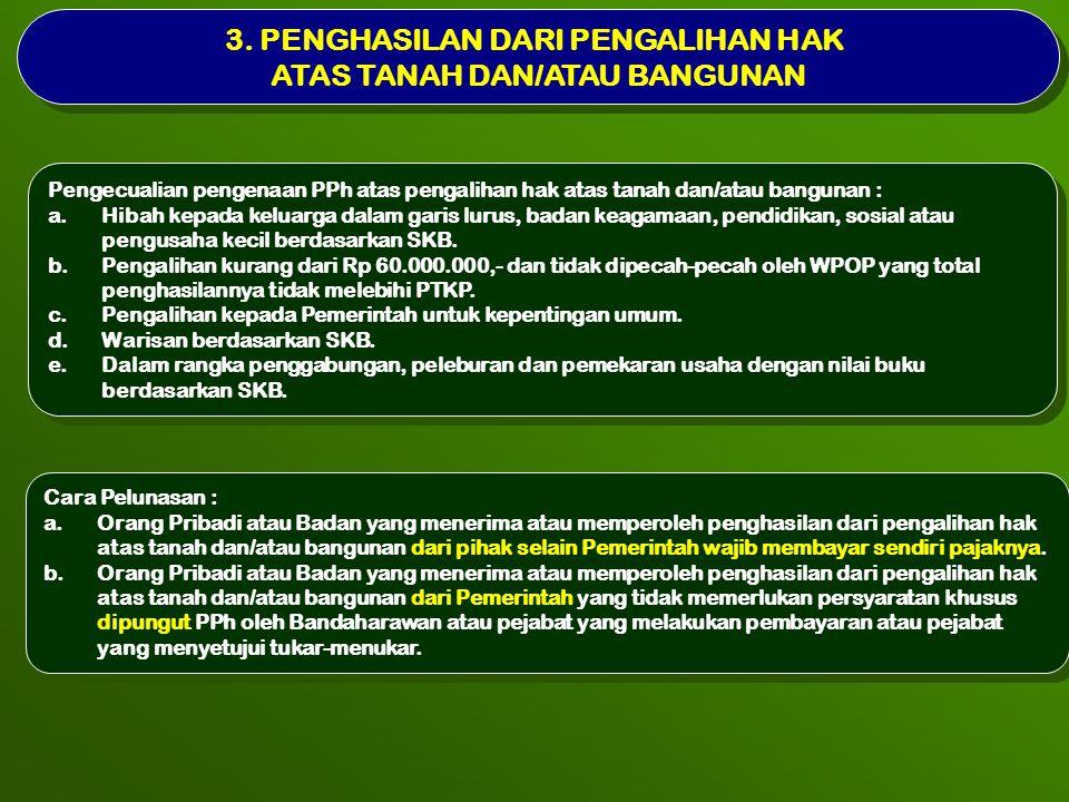 3. PENGHASILAN DARI PENGALIHAN HAK ATAS TANAH DAN/ATAU BANGUNAN