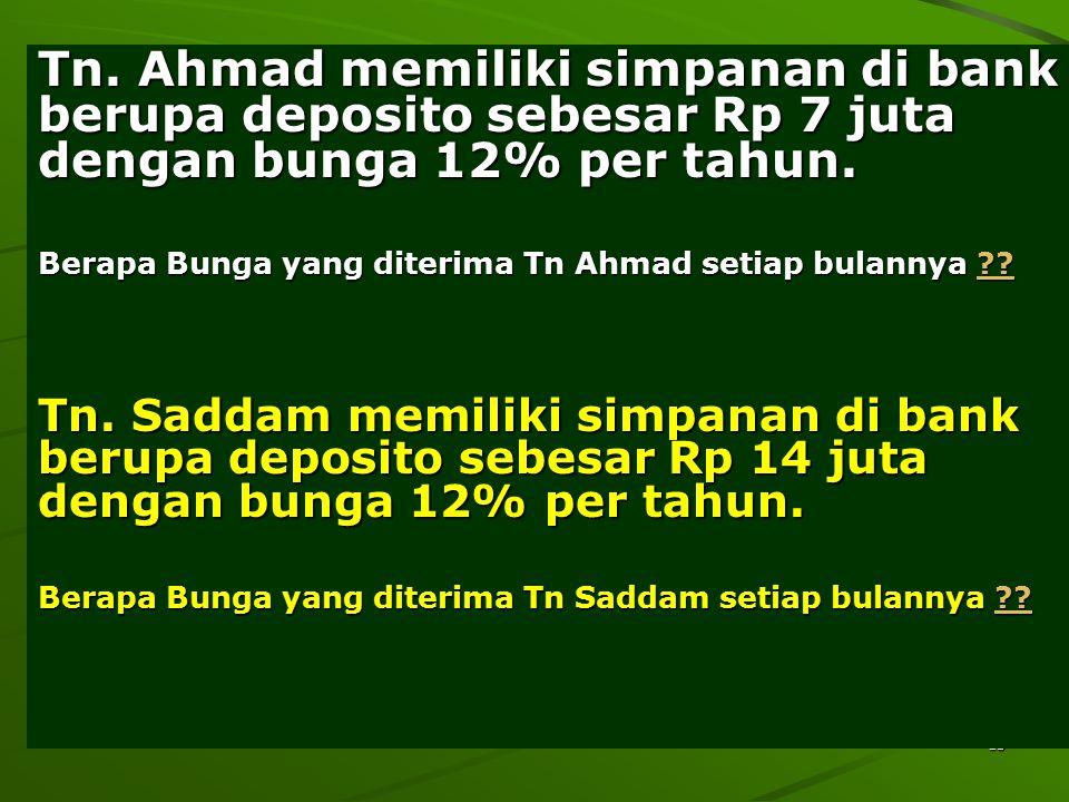 Tn. Ahmad memiliki simpanan di bank berupa deposito sebesar Rp 7 juta dengan bunga 12% per tahun.