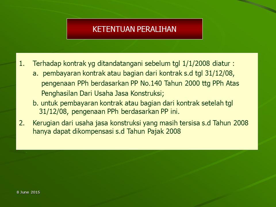 KETENTUAN PERALIHAN Terhadap kontrak yg ditandatangani sebelum tgl 1/1/2008 diatur :
