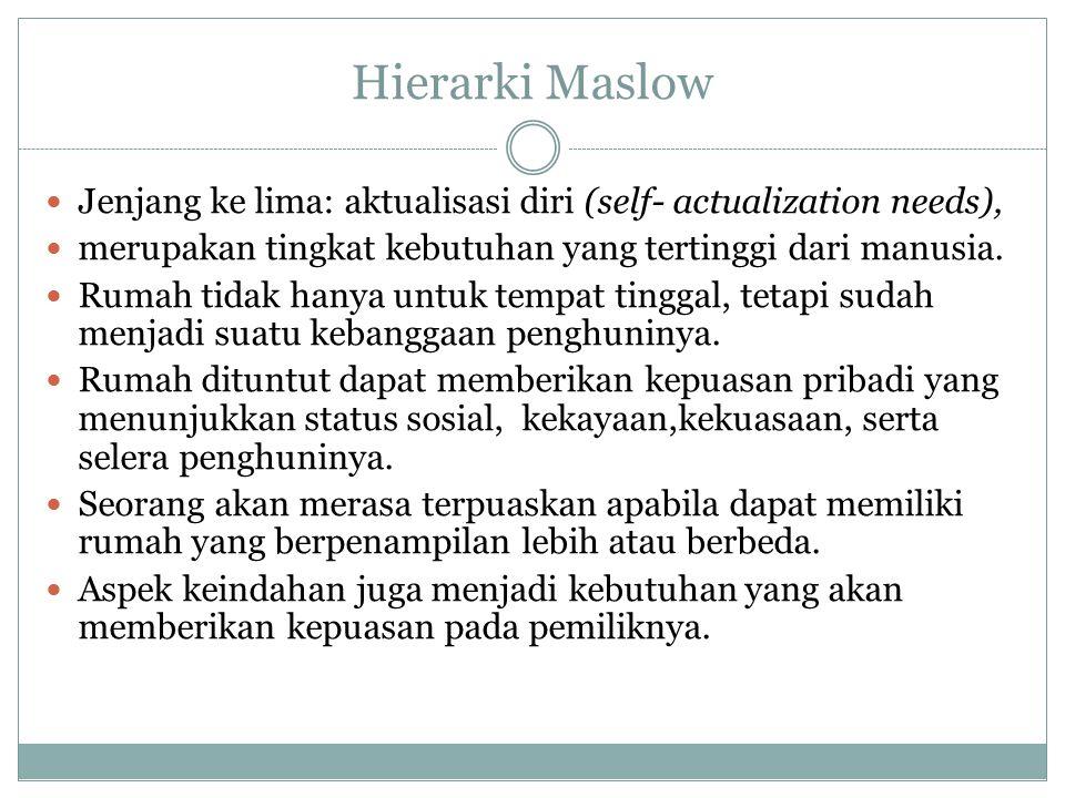 Hierarki Maslow Jenjang ke lima: aktualisasi diri (self- actualization needs), merupakan tingkat kebutuhan yang tertinggi dari manusia.