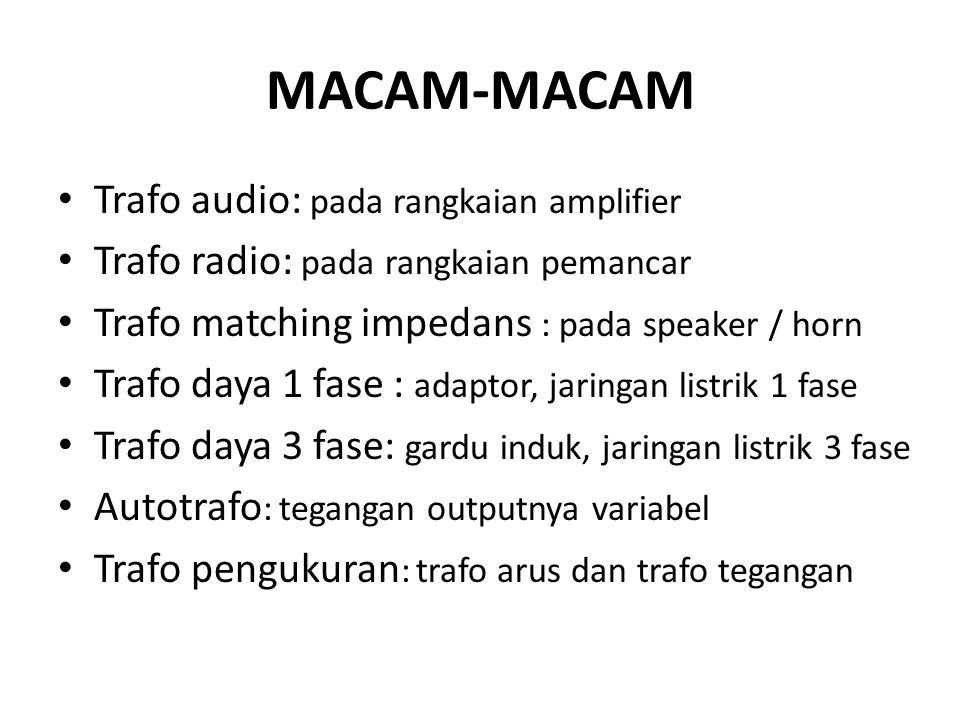 MACAM-MACAM Trafo audio: pada rangkaian amplifier
