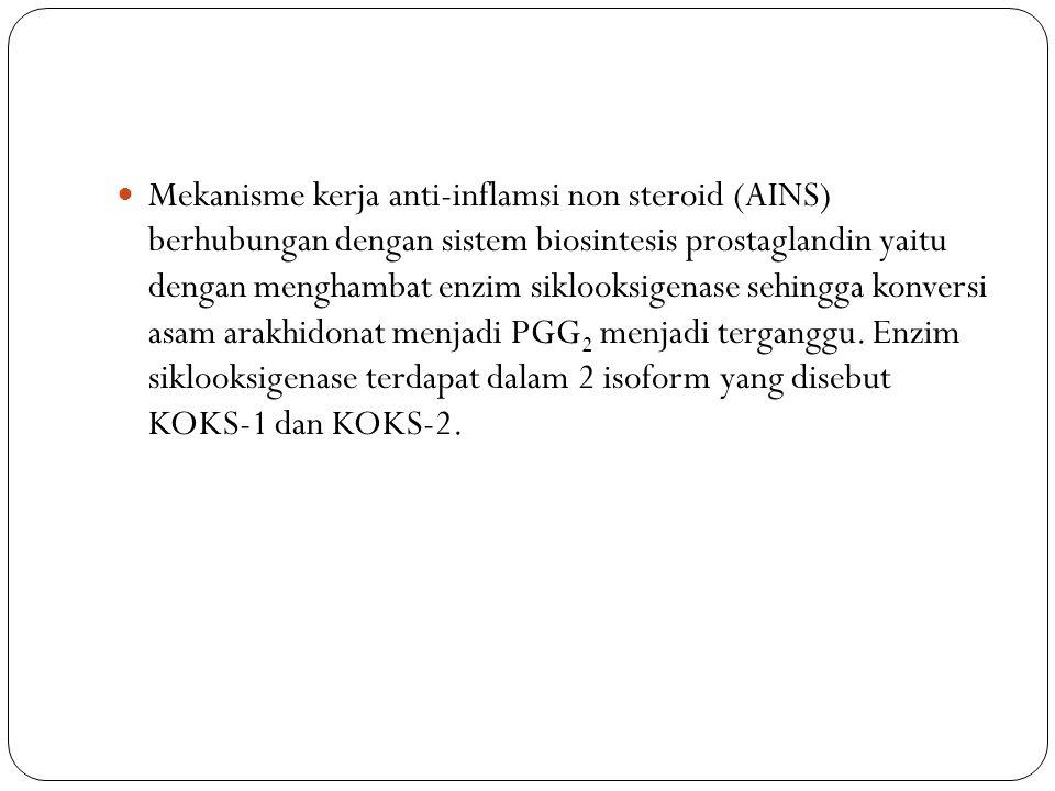 Mekanisme kerja anti-inflamsi non steroid (AINS) berhubungan dengan sistem biosintesis prostaglandin yaitu dengan menghambat enzim siklooksigenase sehingga konversi asam arakhidonat menjadi PGG2 menjadi terganggu.
