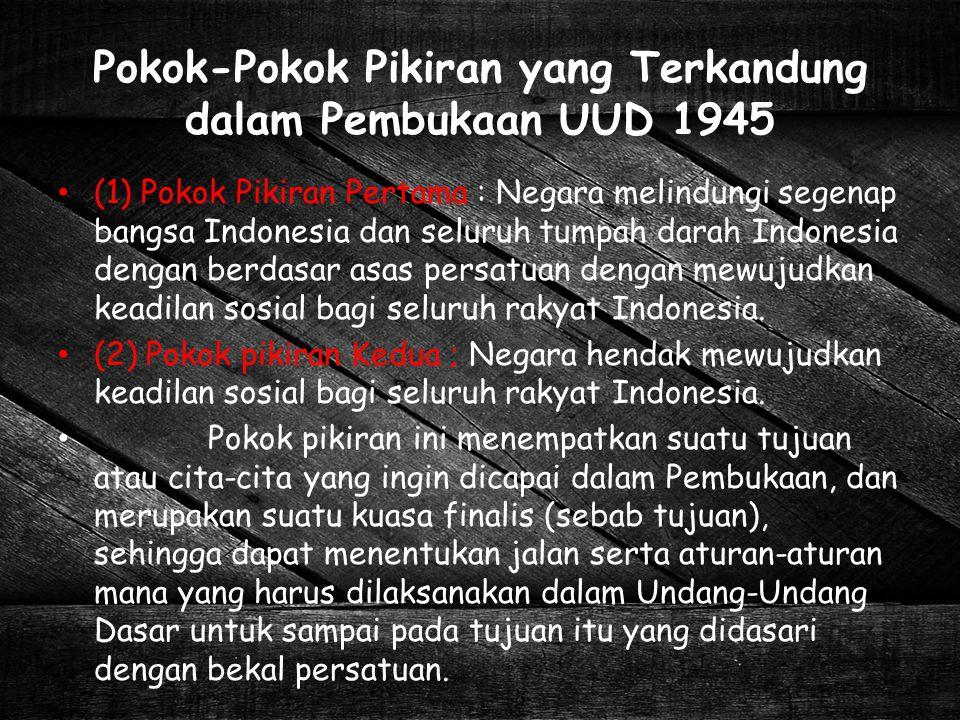 Pokok-Pokok Pikiran yang Terkandung dalam Pembukaan UUD 1945
