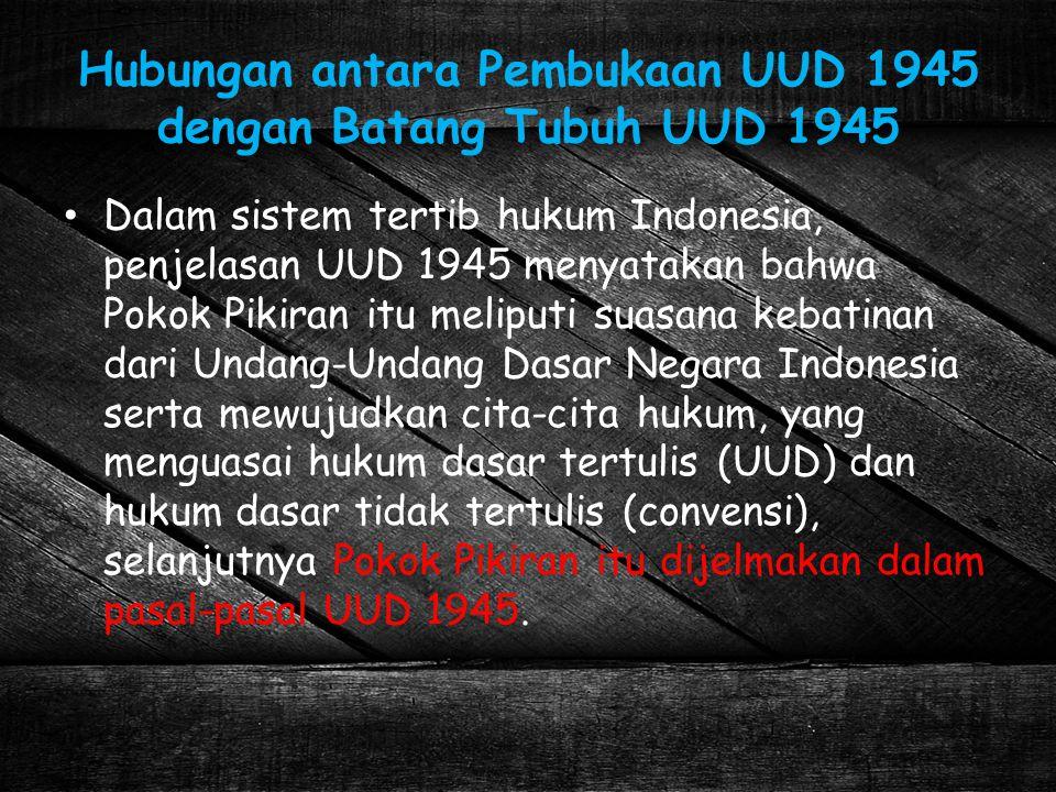 Hubungan antara Pembukaan UUD 1945 dengan Batang Tubuh UUD 1945