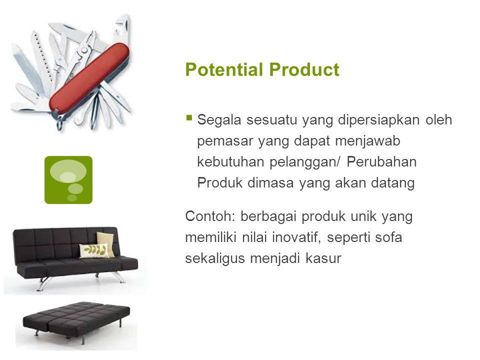 Potential Product Segala sesuatu yang dipersiapkan oleh pemasar yang dapat menjawab kebutuhan pelanggan/ Perubahan Produk dimasa yang akan datang.