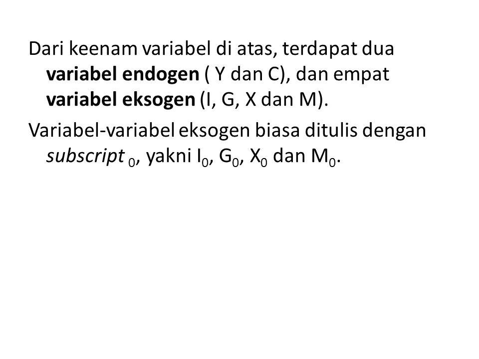 Dari keenam variabel di atas, terdapat dua variabel endogen ( Y dan C), dan empat variabel eksogen (I, G, X dan M).