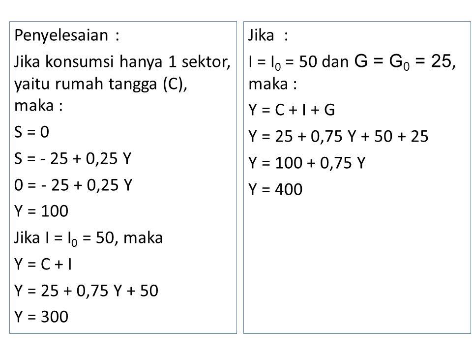 Penyelesaian : Jika konsumsi hanya 1 sektor, yaitu rumah tangga (C), maka : S = 0 S = - 25 + 0,25 Y 0 = - 25 + 0,25 Y Y = 100 Jika I = I0 = 50, maka Y = C + I Y = 25 + 0,75 Y + 50 Y = 300