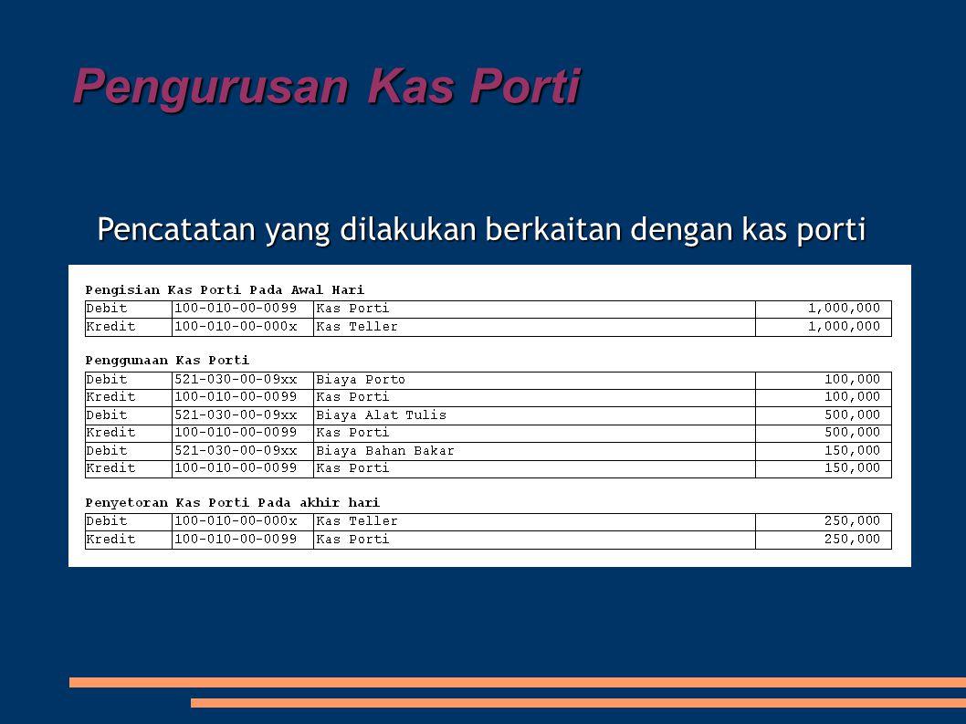 Pengurusan Kas Porti Pencatatan yang dilakukan berkaitan dengan kas porti