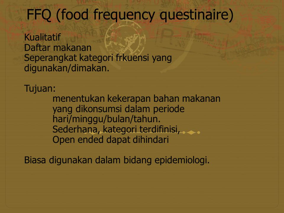 FFQ (food frequency questinaire)