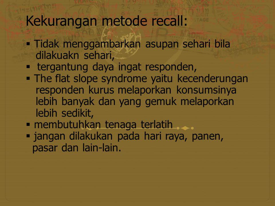 Kekurangan metode recall:
