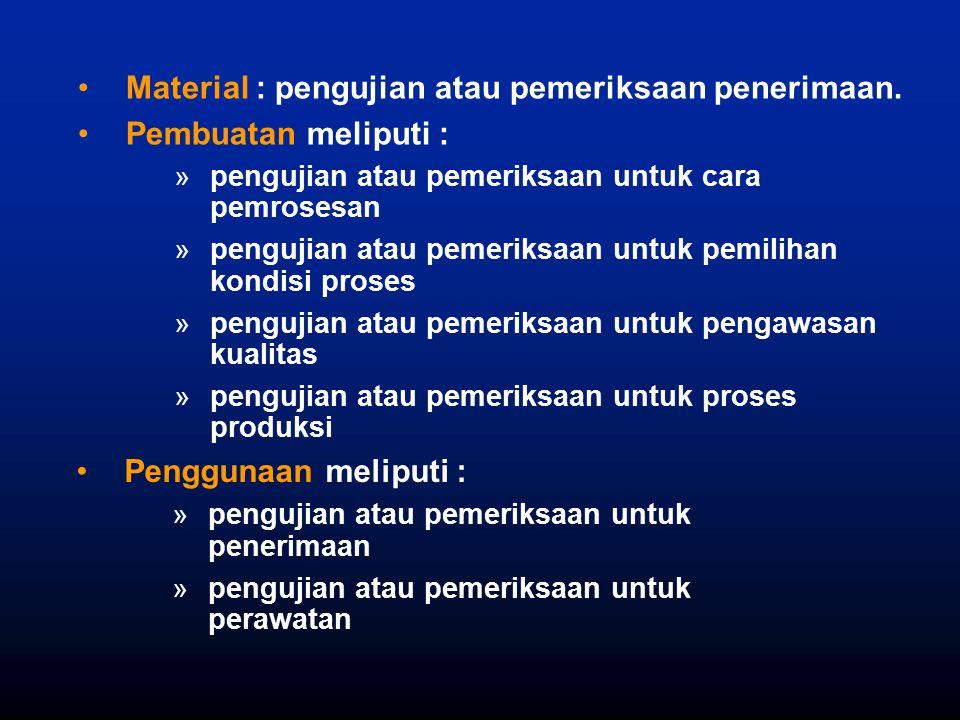 Material : pengujian atau pemeriksaan penerimaan. Pembuatan meliputi :