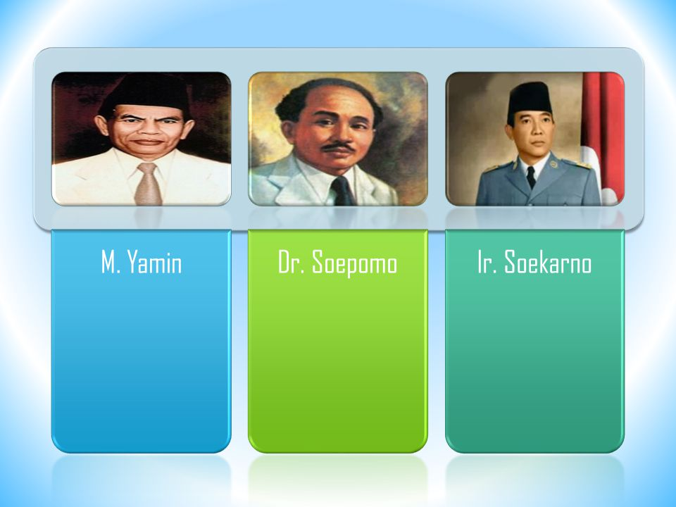 M. Yamin Dr. Soepomo Ir. Soekarno
