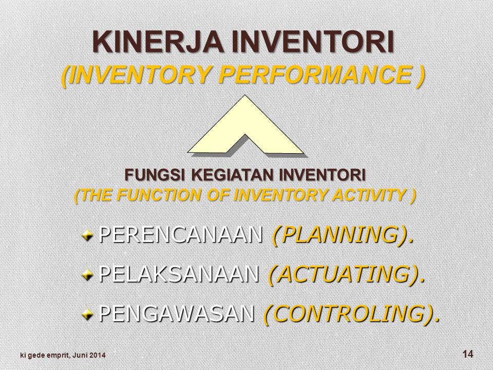 KINERJA INVENTORI (INVENTORY PERFORMANCE ) PERENCANAAN (PLANNING).