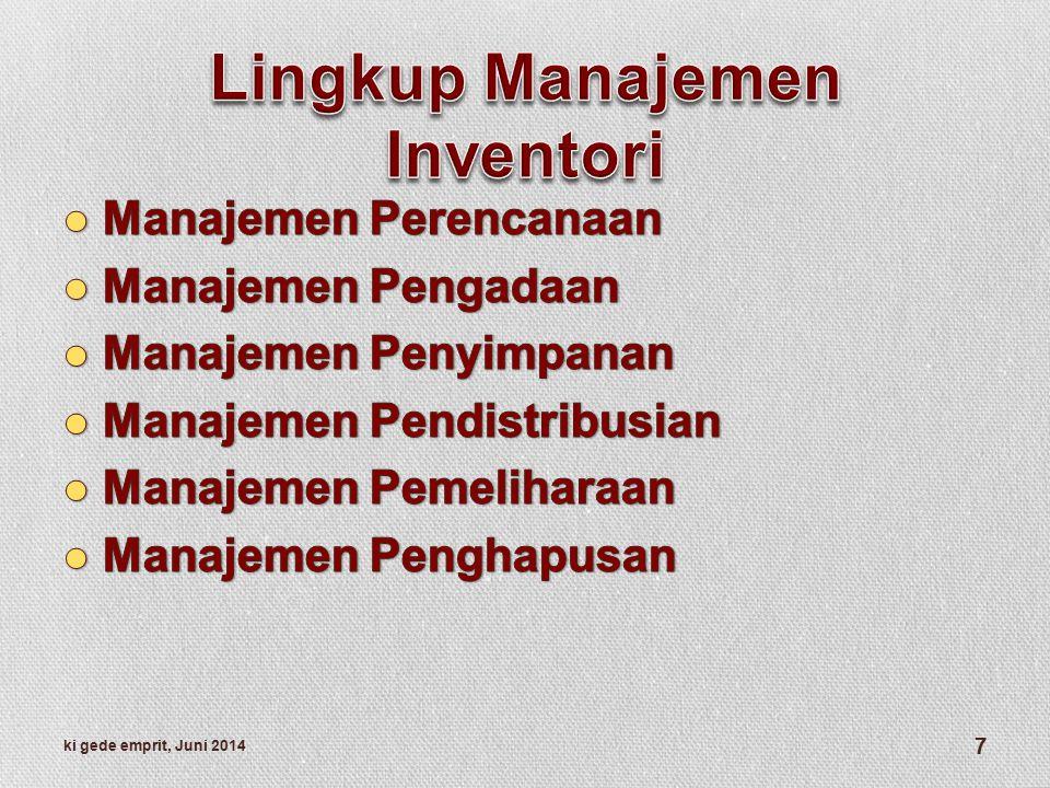Lingkup Manajemen Inventori