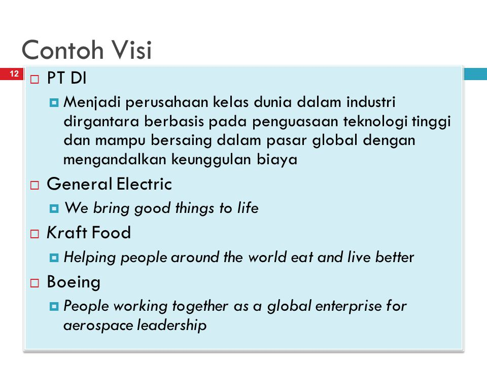 Contoh Visi PT DI General Electric Kraft Food Boeing